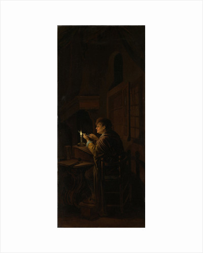 Triptych with an Allegory of Art Education, right panel, Schoolmaster Mending his Pen by Willem Joseph Laquy