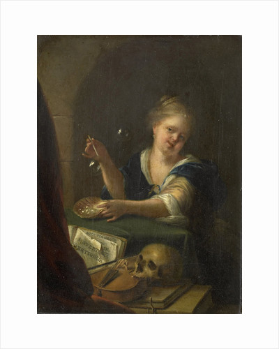 Bubble-blowing Girl with a Vanitas Still Life by Anonymous
