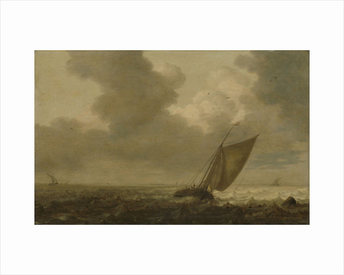 Fishing boat with the wind in the sails by Pieter Mulier I