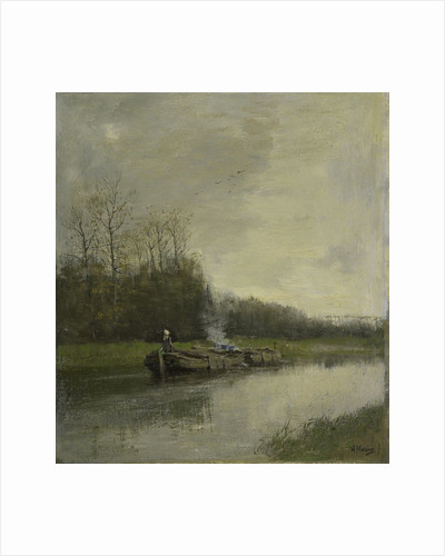 barge-canal, boat-canal by Anton Mauve
