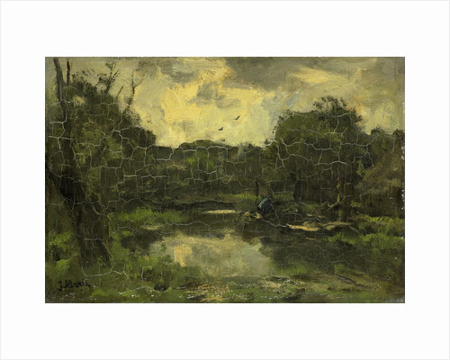 Landscape with barge by Jacob Maris