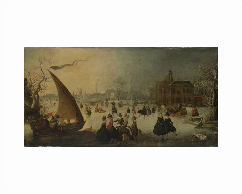 Landscape with a frozen Canal, Skaters and an Ice Boat (Winter Entertainment) by Adam van Breen