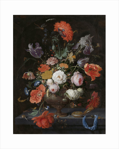 Still Life with Flowers and a Watch by Abraham Mignon