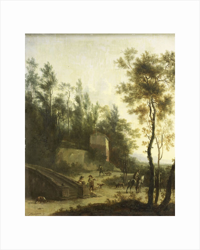 Italian landscape with hunters by Frederik de Moucheron