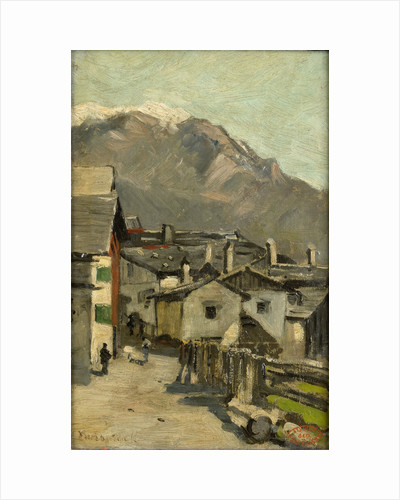 Houses on a road, behind a high mountain (Innsbruck?) by Geo Poggenbeek