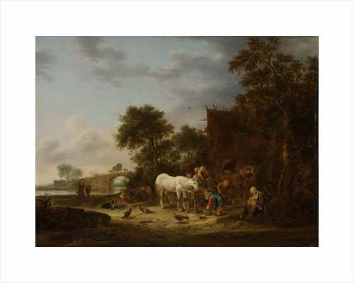 Country inn with a horse at the trough by Isaac van Ostade