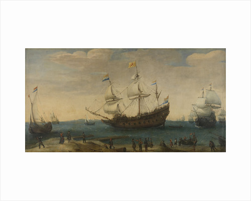 A number of East Indiamen off the Coast (The Mauritius and other East Indiamen Sailing out of the Marsdiep) by Hendrik Cornelisz. Vroom