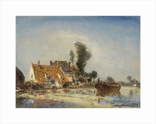Houses on a canal in Crooswijk by Johan Barthold Jongkind