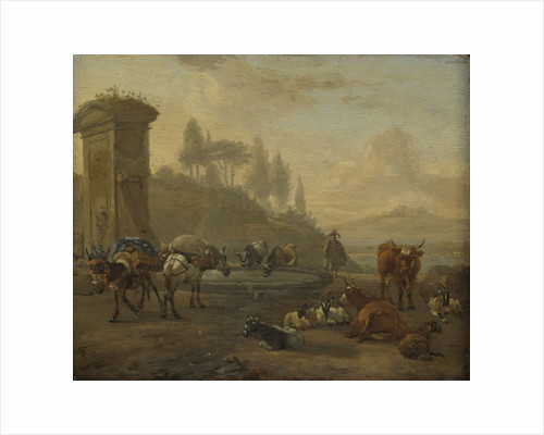 Livestock by a Fountain by Willem Romeyn