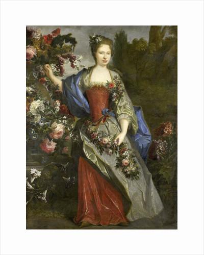 Portrait of a Woman, according to tradition Marie Louise Elisabeth d'Orléans, Duchess of Berry, as Flora by School of Nicolas de Largillière