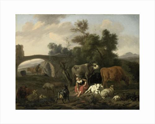 Landscape with Herdsmen and Livestock by Dirck van Bergen
