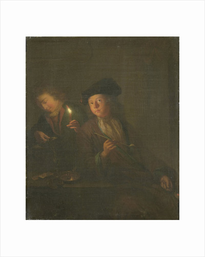 The Smoker (A Man with a Pipe and a Man Pouring a Beverage into a Glass) by Godfried Schalcken
