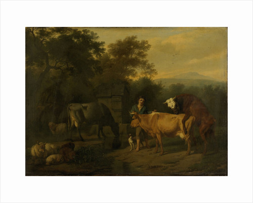 Landscape with a Drover and Cows by Dirck van Bergen