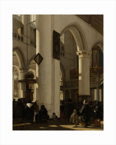 Interior of a Protestant, Gothic Church during a Service by Emanuel de Witte