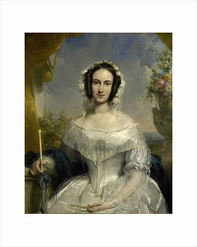 Agatha Petronella Hartsen. Bridal gown on the occasion of her marriage to Jan van der Hoop op 17 maart 1841 by Jan Willem Pieneman