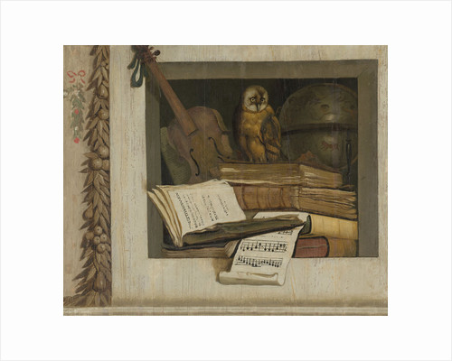 Still Life with Books, Sheet Music, Violin, Celestial Globe and an Owl by Jacob van Campen