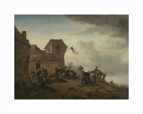 Fighting Peasants near a Village by Philips Wouwerman