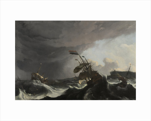 Warships in a Heavy Storm by Ludolf Bakhuysen