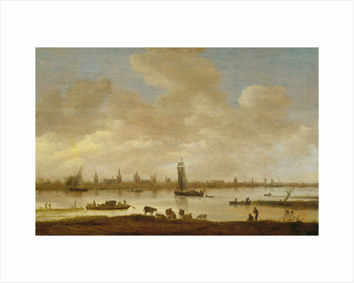 View of an Imaginary Town on a River with the Tower of Saint Pol in Vianen, River Landscape with View of Vianen by Jan van Goyen