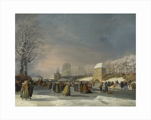 Women's Skating Competition on the Stadsgracht in Leeuwarden, 21 January 1809, The Netherlands by Nicolaas Baur