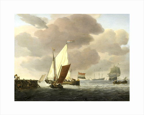 Ships near the Coast in windy Weather by Willem van de Velde II