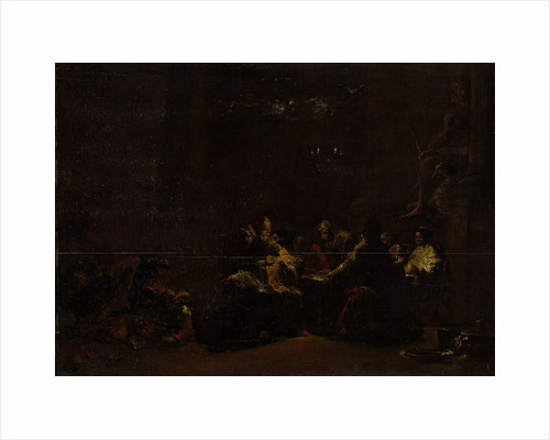 Pashur Smites Jeremiah in the Temple, Fight during a meal of priests and monks in a temple of Jupiter by Leonaert Bramer