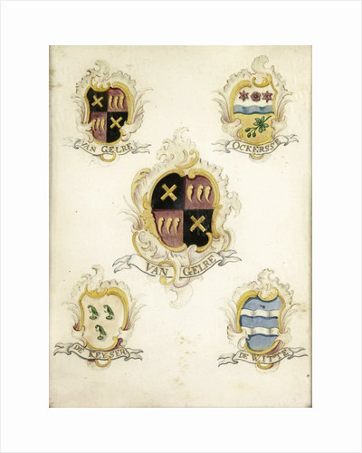 The coat of arms of Anna Digna van Gelre, wife of Laurens Jacobsz de Witte, with the coat of arms of her four grandparents by Anonymous