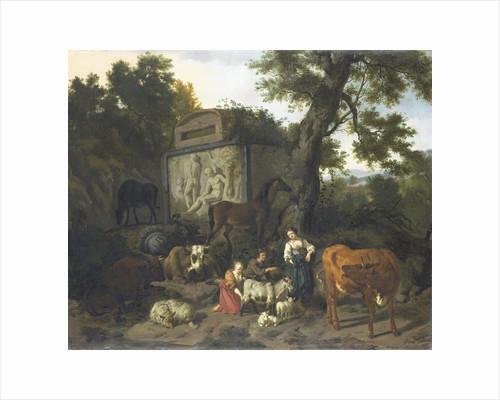Landscape with Herdsmen and Livestock near a Mausoleum by Dirck van Bergen