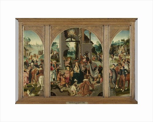 Triptych with Adoration of the Magi, center and inner wings, Saint Antony Abbot, left, outer wing and Saint Adrian, right, outer wing by Master of Alkmaar