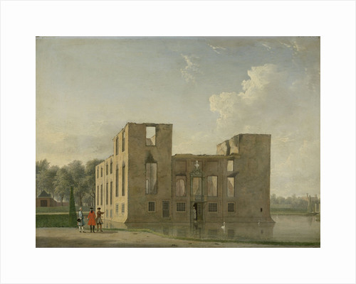 Rear View of Berckenrode Castle in Heemstede after the Fire, The Netherlands by Jan ten Compe