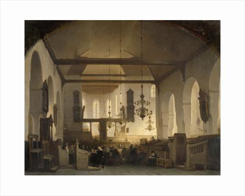 A Service in the Geertekerk, Utrecht, The Netherlands by Johannes Bosboom