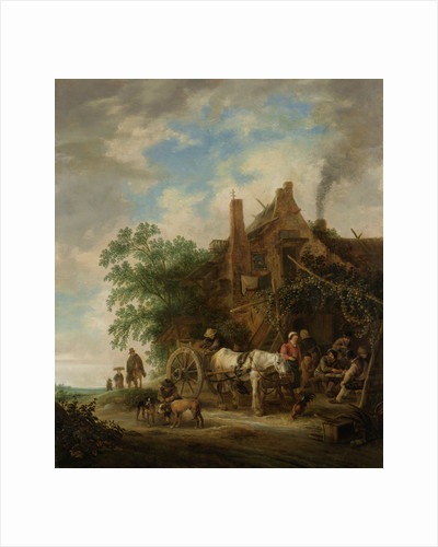 Country inn with horse and wagon by Isaac van Ostade