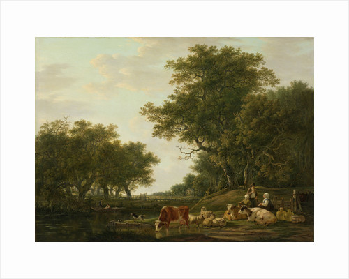 Landscape with Peasants with their Cattle and Anglers on the Water by Jacob van Strij
