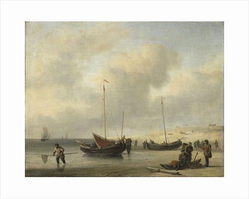 Fishing Boats on Shore, The Shore, Unloading a Fishing Smack by Willem van de Velde II