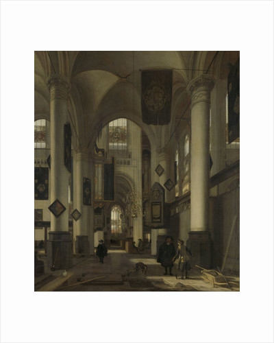 Interior of a Protestant Gothic Church with Motifs from the Oude and Nieuwe Kerk in Amsterdam, The Netherlands by Emanuel de Witte
