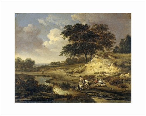 Landscape with a Rider Watering his Horse at a Brook by Jan Wijnants