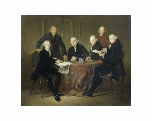 The Four Regents, the Secretary and the House Father of the Lepers' House of Amsterdam, 1773 by Jacobus Luberti Augustini