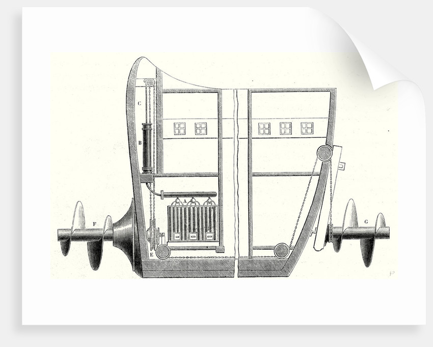 Cross Section of the Rear and the Front of the Propeller Boat of Charles Dallery by Anonymous