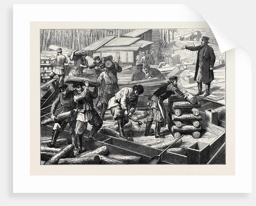 The Vienna Universal Exhibition: Russian Workmen Beginning a Russian House 1873 by Anonymous