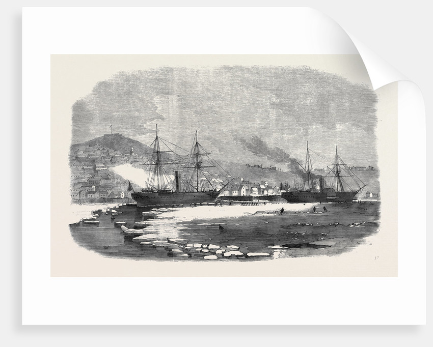 The English and Newfoundland Mail Vessels Making Their Way Through the Ice in Halifax Harbour Nova Scotia by Anonymous