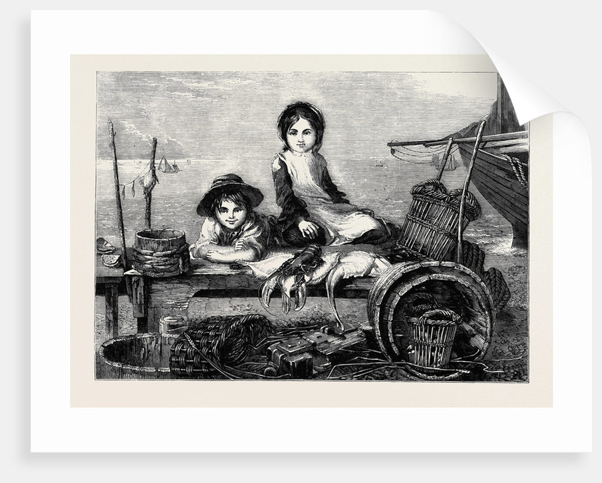 Children Minding Their Mother's Stall - the Fish Market, in the Exhibition of the Society of Female Artists by Anonymous