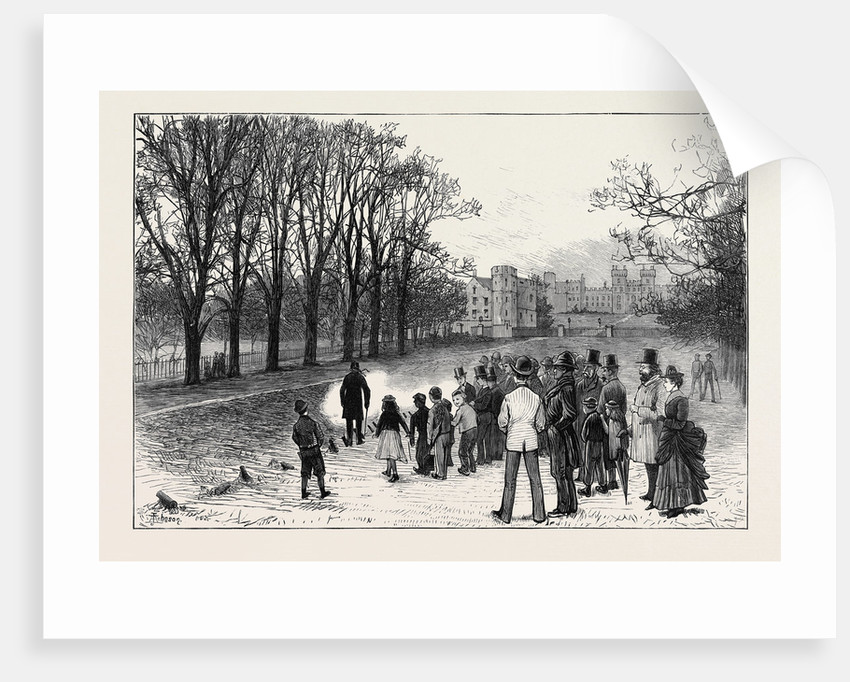 Marriage Festivities for the Duke of Edinburgh: Firing a Salute in the Long Walk Windsor Park 1874 by Anonymous