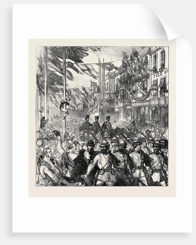 The Ashantee War: The Return Home Arrival of the 23rd Royal Welsh Fusiliers at Portsmouth 1874 by Anonymous