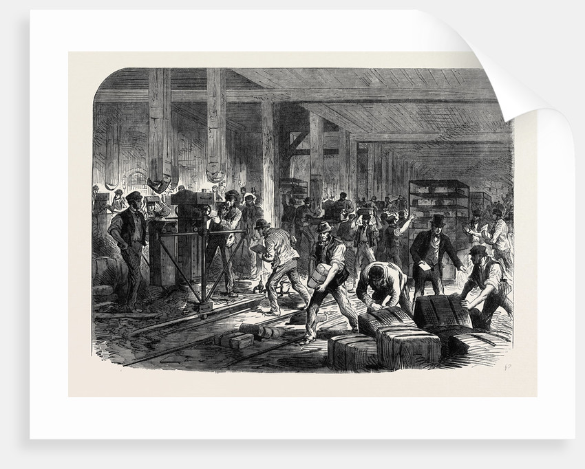 The British Expedition to Abyssinia: Preparing Compressed Forage at the Globe Wharf Regent's Canal Mile-End-Road UK 1867 by Anonymous