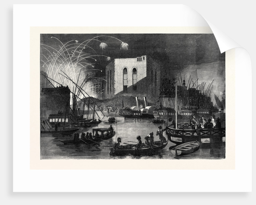 A Night Scene on the Nile Near the Mouth of the Cairo Canal During the Festival of Gebr-El-Haleeg or Breaking the Canal 1862 by Anonymous