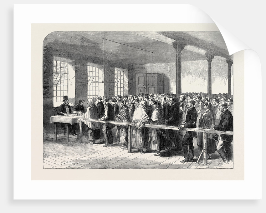 The Cotton Famine: Distributing Tickets for Bread Soup Meat Meal Coal Etc. At the Office of a District Provident Society Manchester 1862 by Anonymous