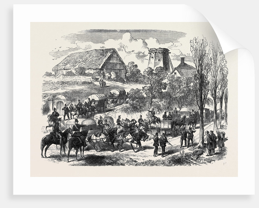 The Austro-Prussian War: Provender Waggons of the Prussian Army Passing the Saxon Frontier 1866 by Anonymous