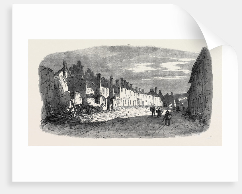The Great Fire at Ottery St. Mary Devonshire: Ruins of Mill Street UK 1866 by Anonymous