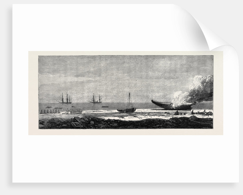 Expedition of a British Force from Aden to Shugra: Embarkation of the Troops and Burning of a Dhow 1866 by Anonymous