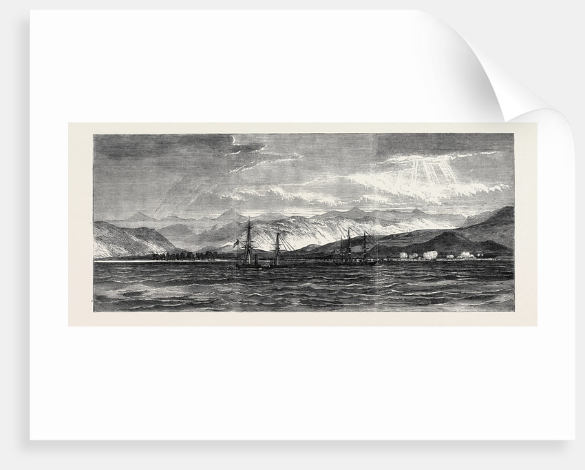 Expedition of a British Force from Aden to Shugra: View of Shugra from the Anchorage: The Troops Effecting a Landing 1866 by Anonymous